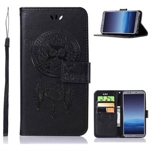 Intricate Embossing Owl Campanula Leather Wallet Case for Huawei P Smart(Enjoy 7S) - Black