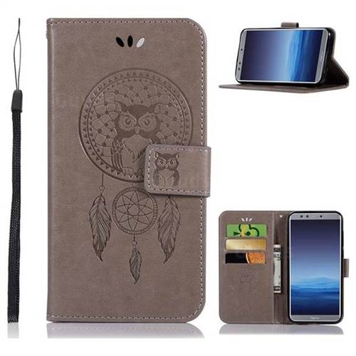 Intricate Embossing Owl Campanula Leather Wallet Case for Huawei P Smart(Enjoy 7S) - Grey