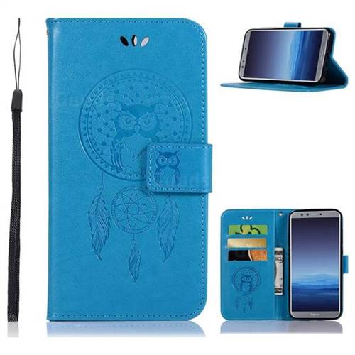 Intricate Embossing Owl Campanula Leather Wallet Case for Huawei P Smart(Enjoy 7S) - Blue