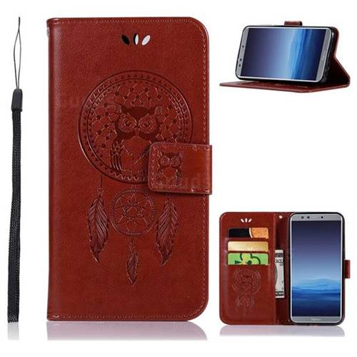 Intricate Embossing Owl Campanula Leather Wallet Case for Huawei P Smart(Enjoy 7S) - Brown