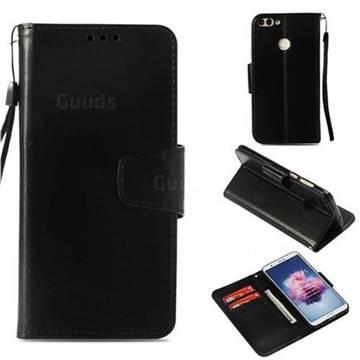 Retro Phantom Smooth PU Leather Wallet Holster Case for Huawei P Smart(Enjoy 7S) - Black
