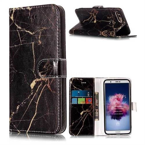 Black Gold Marble PU Leather Wallet Case for Huawei P Smart(Enjoy 7S)