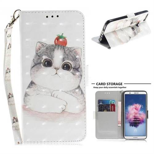 Cute Tomato Cat 3D Painted Leather Wallet Phone Case for Huawei P Smart(Enjoy 7S)