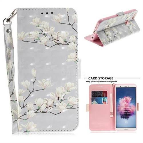 Magnolia Flower 3D Painted Leather Wallet Phone Case for Huawei P Smart(Enjoy 7S)