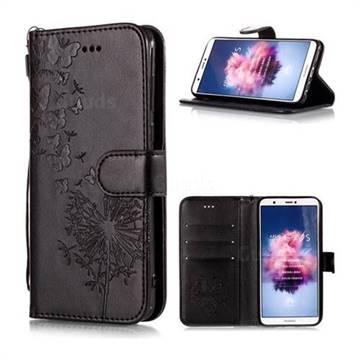 Intricate Embossing Dandelion Butterfly Leather Wallet Case for Huawei P Smart(Enjoy 7S) - Black