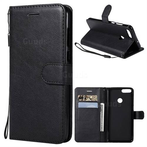 Retro Greek Classic Smooth PU Leather Wallet Phone Case for Huawei P Smart(Enjoy 7S) - Black
