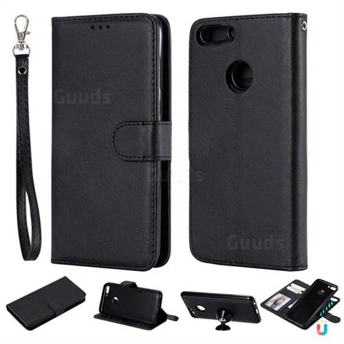 Retro Greek Detachable Magnetic PU Leather Wallet Phone Case for Huawei P Smart(Enjoy 7S) - Black