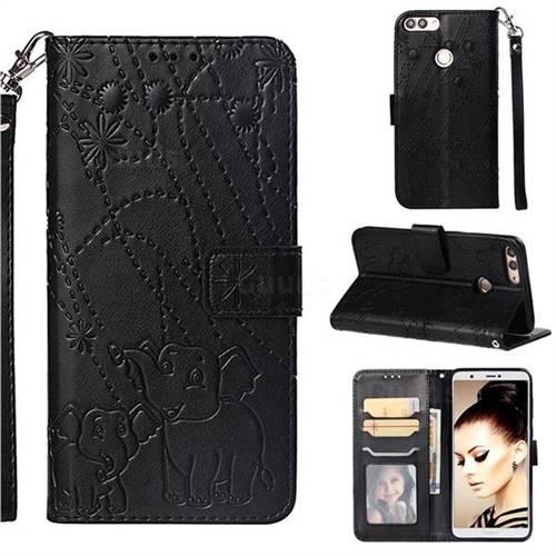 Embossing Fireworks Elephant Leather Wallet Case for Huawei P Smart(Enjoy 7S) - Black