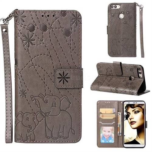 Embossing Fireworks Elephant Leather Wallet Case for Huawei P Smart(Enjoy 7S) - Gray