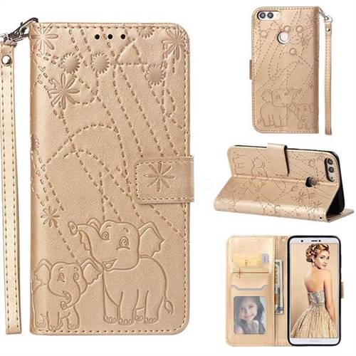 Embossing Fireworks Elephant Leather Wallet Case for Huawei P Smart(Enjoy 7S) - Golden