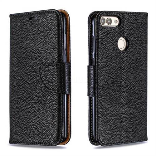 Classic Luxury Litchi Leather Phone Wallet Case for Huawei P Smart(Enjoy 7S) - Black