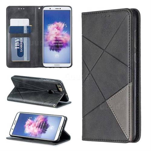 Prismatic Slim Magnetic Sucking Stitching Wallet Flip Cover for Huawei P Smart(Enjoy 7S) - Black