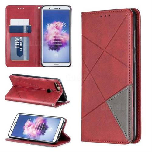 Prismatic Slim Magnetic Sucking Stitching Wallet Flip Cover for Huawei P Smart(Enjoy 7S) - Red