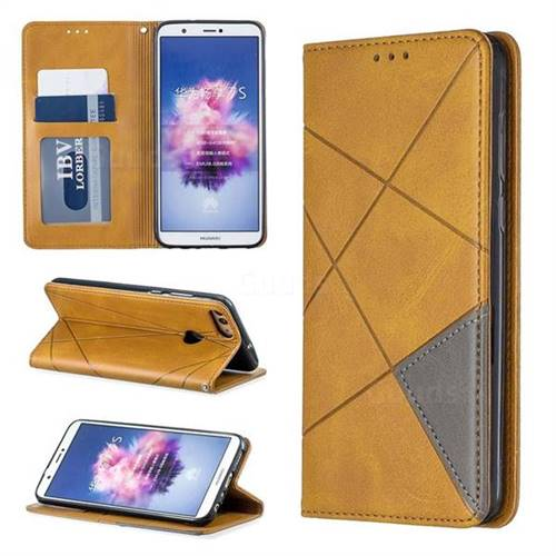 Prismatic Slim Magnetic Sucking Stitching Wallet Flip Cover for Huawei P Smart(Enjoy 7S) - Yellow