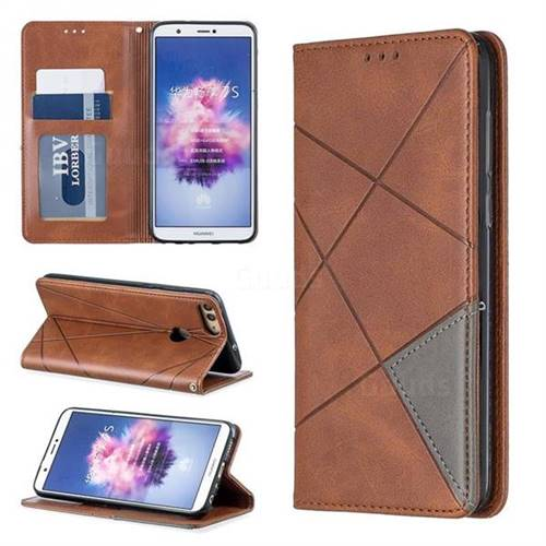 Prismatic Slim Magnetic Sucking Stitching Wallet Flip Cover for Huawei P Smart(Enjoy 7S) - Brown
