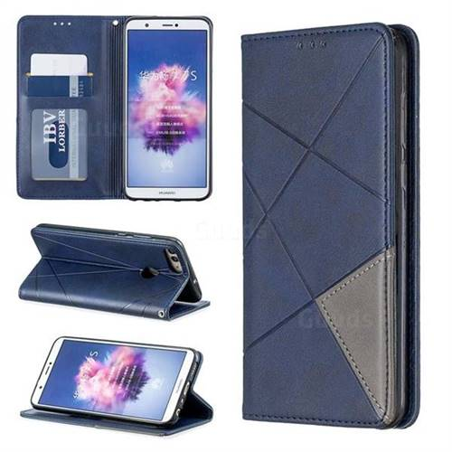 Prismatic Slim Magnetic Sucking Stitching Wallet Flip Cover for Huawei P Smart(Enjoy 7S) - Blue