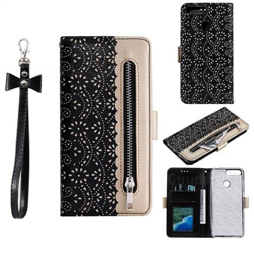 Luxury Lace Zipper Stitching Leather Phone Wallet Case for Huawei P Smart(Enjoy 7S) - Black