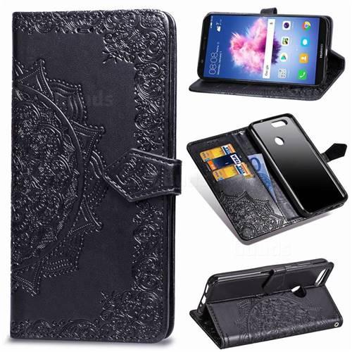 Embossing Imprint Mandala Flower Leather Wallet Case for Huawei P Smart(Enjoy 7S) - Black