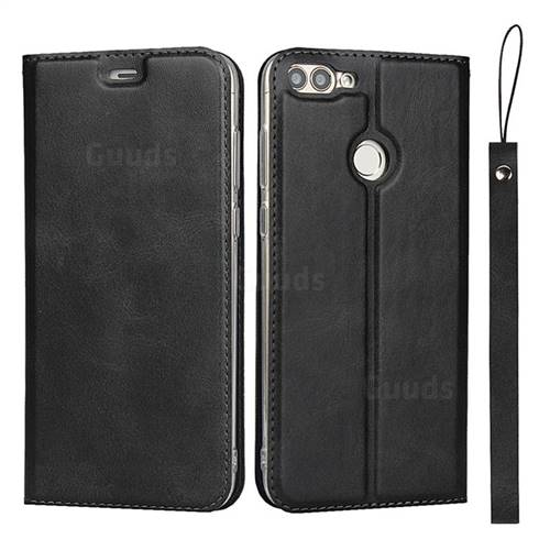 Calf Pattern Magnetic Automatic Suction Leather Wallet Case for Huawei P Smart(Enjoy 7S) - Black