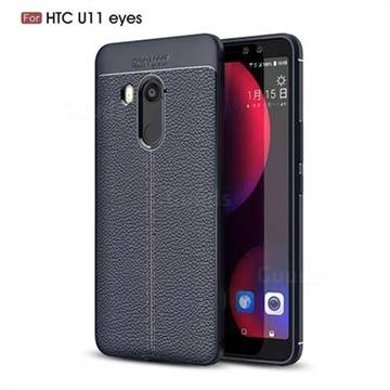 Luxury Auto Focus Litchi Texture Silicone TPU Back Cover for HTC U11 Eyes - Dark Blue
