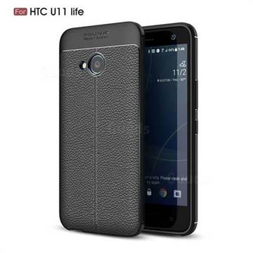 Luxury Auto Focus Litchi Texture Silicone TPU Back Cover for HTC U11 Life - Black