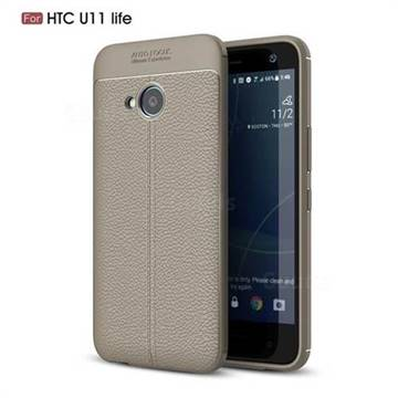 Luxury Auto Focus Litchi Texture Silicone TPU Back Cover for HTC U11 Life - Gray