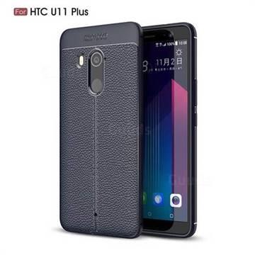 Luxury Auto Focus Litchi Texture Silicone TPU Back Cover for HTC U11+(U11 Plus) - Dark Blue