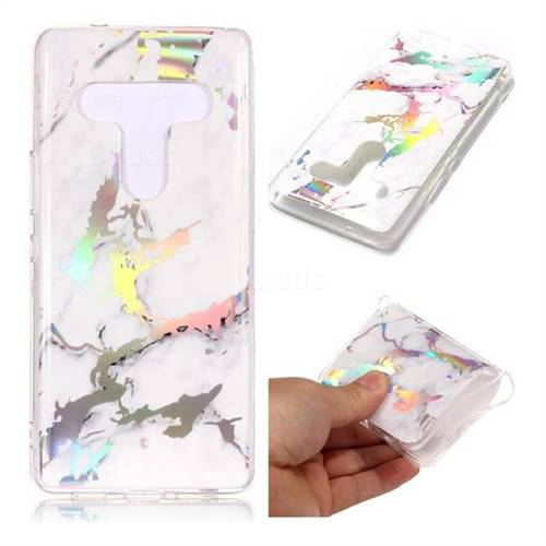 White Marble Pattern Bright Color Laser Soft TPU Case for HTC U12+