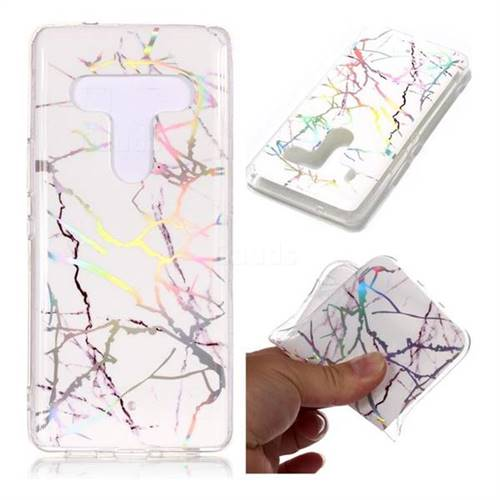 Color White Marble Pattern Bright Color Laser Soft TPU Case for HTC U12+