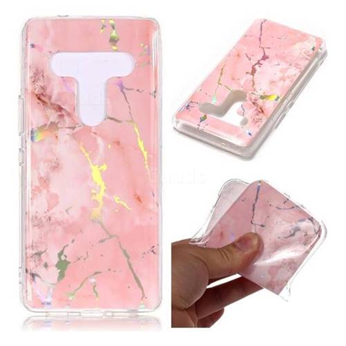 Powder Pink Marble Pattern Bright Color Laser Soft TPU Case for HTC U12+