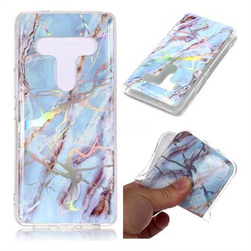 Light Blue Marble Pattern Bright Color Laser Soft TPU Case for HTC U12+
