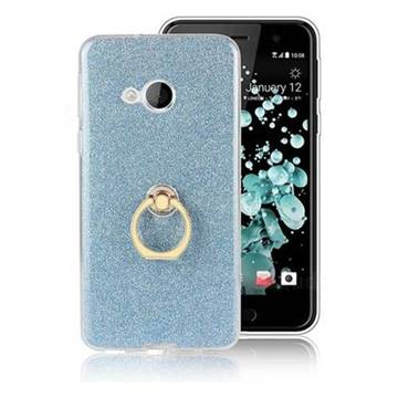 Luxury Soft TPU Glitter Back Ring Cover with 360 Rotate Finger Holder Buckle for HTC U Play / HTC Alpine - Blue