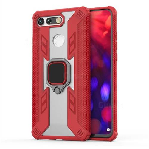 Predator Armor Metal Ring Grip Shockproof Dual Layer Rugged Hard Cover for Huawei Honor View 20 / V20 - Red