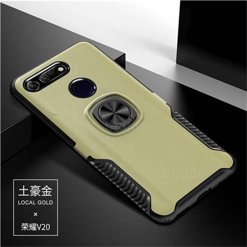 Knight Armor Anti Drop PC + Silicone Invisible Ring Holder Phone Cover for Huawei Honor View 20 / V20 - Champagne