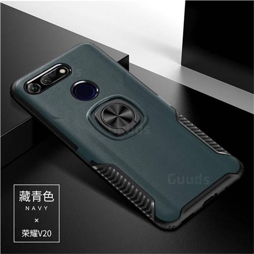 Knight Armor Anti Drop PC + Silicone Invisible Ring Holder Phone Cover for Huawei Honor View 20 / V20 - Navy