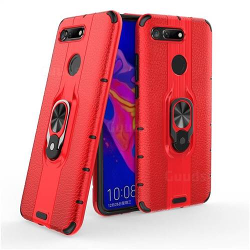 Alita Battle Angel Armor Metal Ring Grip Shockproof Dual Layer Rugged Hard Cover for Huawei Honor View 20 / V20 - Red