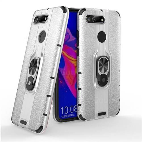 Alita Battle Angel Armor Metal Ring Grip Shockproof Dual Layer Rugged Hard Cover for Huawei Honor View 20 / V20 - Silver