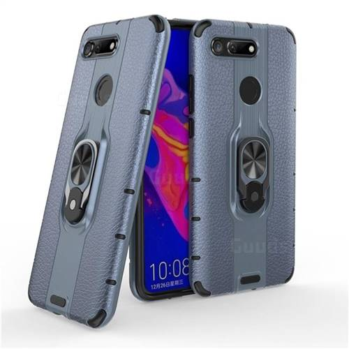 Alita Battle Angel Armor Metal Ring Grip Shockproof Dual Layer Rugged Hard Cover for Huawei Honor View 20 / V20 - Blue
