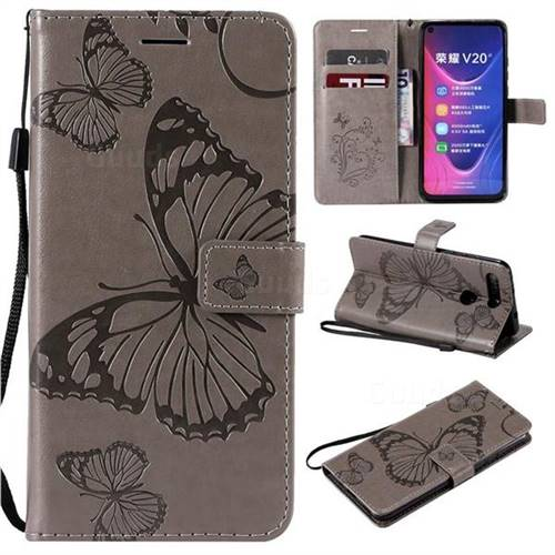 Embossing 3D Butterfly Leather Wallet Case for Huawei Honor View 20 / V20 - Gray