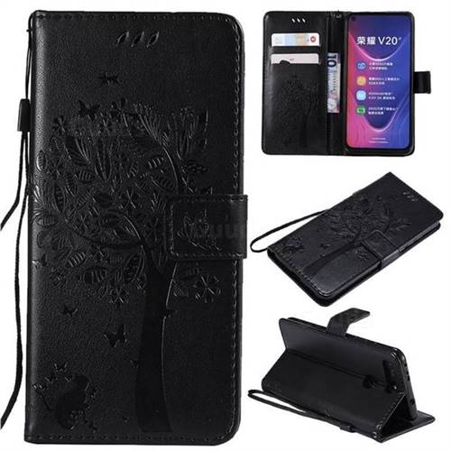 Embossing Butterfly Tree Leather Wallet Case for Huawei Honor View 20 / V20 - Black