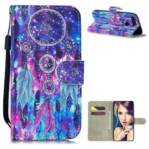 Star Wind Chimes 3D Painted Leather Wallet Phone Case for Huawei Honor View 20 / V20
