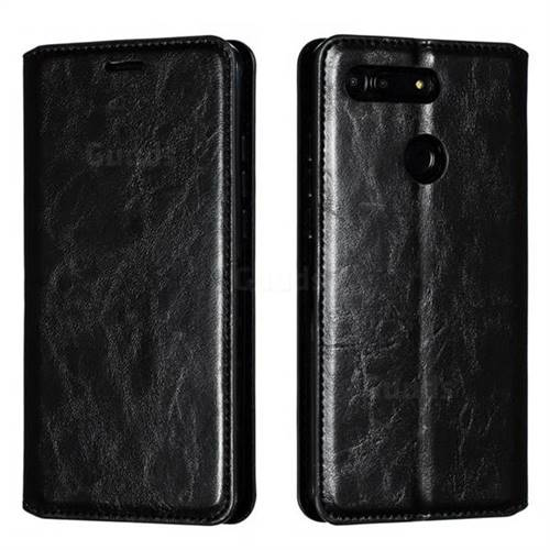 Retro Slim Magnetic Crazy Horse PU Leather Wallet Case for Huawei Honor View 20 / V20 - Black