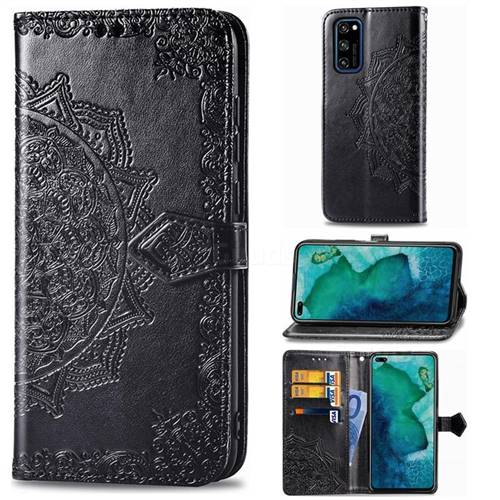 Embossing Imprint Mandala Flower Leather Wallet Case for Huawei Honor View 30 / V30 - Black