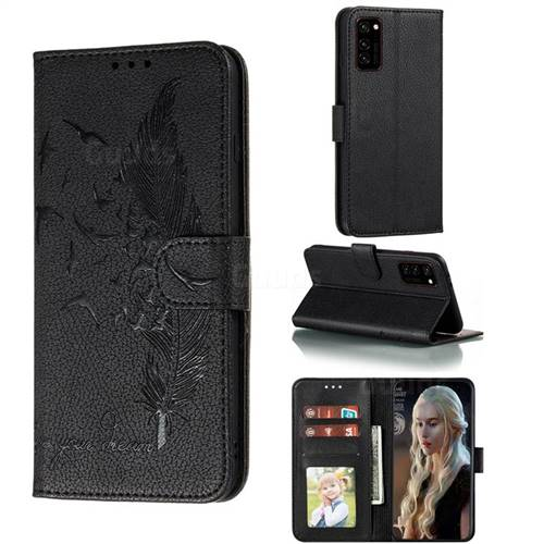 Intricate Embossing Lychee Feather Bird Leather Wallet Case for Huawei Honor View 30 / V30 - Black