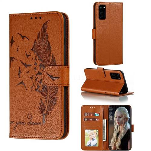 Intricate Embossing Lychee Feather Bird Leather Wallet Case for Huawei Honor View 30 / V30 - Brown
