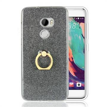 Luxury Soft TPU Glitter Back Ring Cover with 360 Rotate Finger Holder Buckle for HTC One X10 X 10 - Black