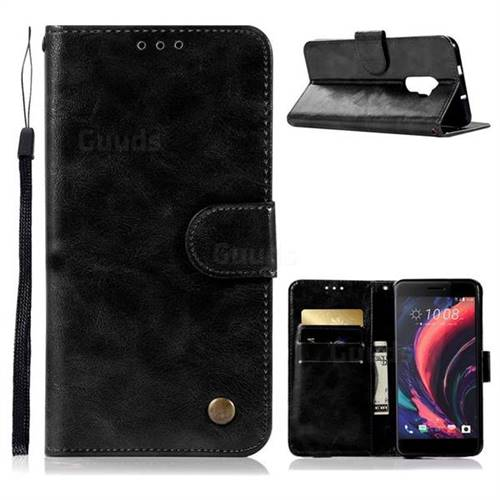 Luxury Retro Leather Wallet Case for HTC One X10 X 10 - Black