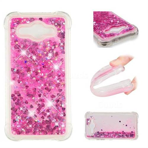 Dynamic Liquid Glitter Sand Quicksand TPU Case for Huawei Y3 (2017) - Pink Love Heart