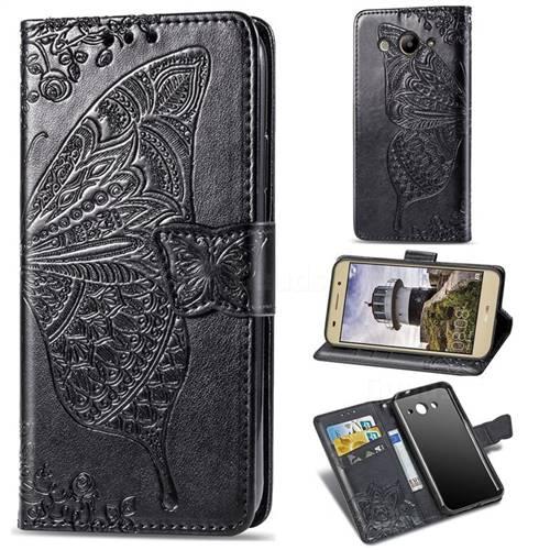 Embossing Mandala Flower Butterfly Leather Wallet Case for Huawei Y3 (2017) - Black