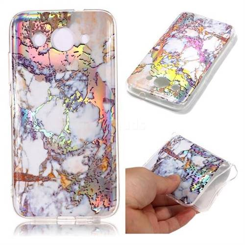 Gold Plating Marble Pattern Bright Color Laser Soft TPU Case for Huawei Y3 (2018)
